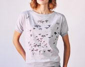 Flock T-Shirt, Watercolor Birds, Grey