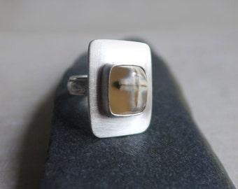 Cross Agate Sterling Silver Ring, Jerusalem Stone Silver Ring, Religious Christian Gemstone Cross Ring, Square Gemstone Cross Ring