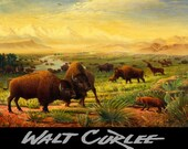 Western Americana Landscape, Buffalo Great Plains  Canvas Print, Old West Decor, Wild West, Bison, American, Western Decor by Walt Curlee