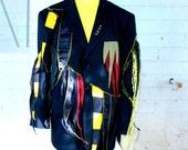 ZomBee  Man - CUSTOM  RESERVED Black yellow tatters 42 44 suit jacket Custom ooak upcycled clothing Adult Halloween Costume
