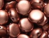 "2-Hole Czech Glass ""Candy"" Bead Silky Copper 8mm  25 beads"