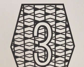 Laser Cut Table Numbers: Geometric 1-20
