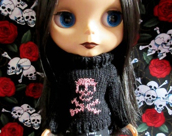 Blythe Sweater with Pink Glittery Skull