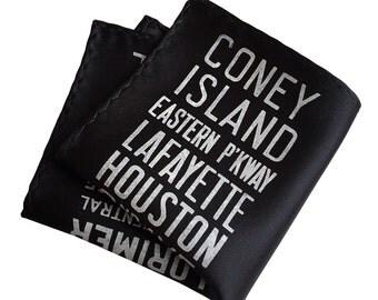 New York City Subway Sign pocket square. Brooklyn, Manhattan gift. Screen printed men's handkerchief. Choose black, white & more.