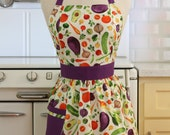 Retro Apron Vegetables on White - CHLOE
