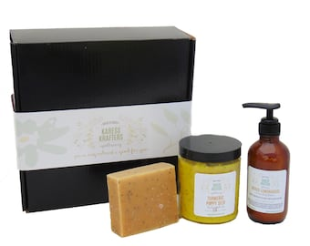 Turmeric & Lemongrass Gift Set, Natural Skin Care, Cleanse, Exfoliated, Moisturize, Soap, Scrub, Lotion, Apothecary, Essential Oils, Natural