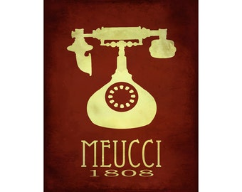 Meucci 16x20 Science Art Print with Vintage Telephone illustration, Rock Star Scientist Poster for Classroom or Teacher, Geekery Art