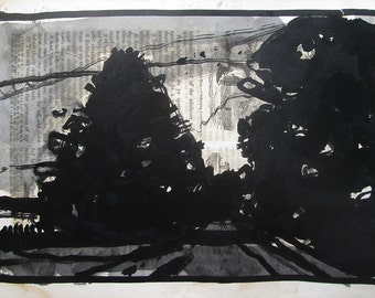 Shadow Pass, Original India Ink and Wash Landscape Drawing on Antique Book Paper, Stooshinoff