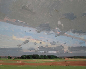 August End, Bobby's Field, Original Plein Air Landscape Painting on Panel, Ready to Hang, Stooshinoff