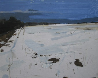 March Snow Field, Original Winter Landscape Collage Painting on Panel, Stooshinoff
