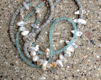 keshi pearl, shell and aquamarine necklace
