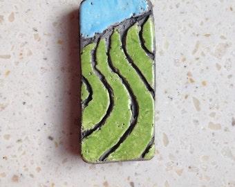 farm field, raku, clay pendant, tile