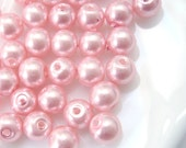 6mm Glass Pearl Bead Round - Pink 100pcs