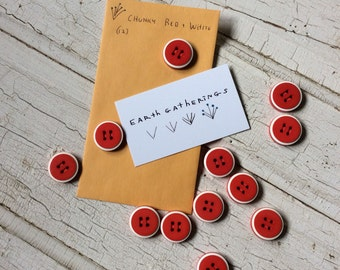 """Chunky Red Buttons, Bright Red with White Stripe, Set of 12 Buttons, New Old Stock, 7/8"""" in Diameter, Vintage Seventies Buttons"""