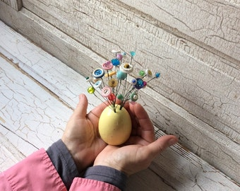 Yellow Speckled Egg Button Flower Bouquet/Easter Egg Buttons and Beads