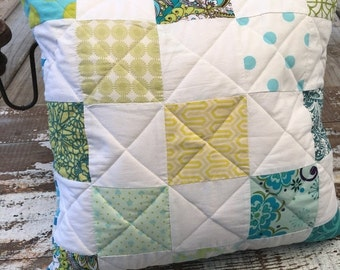 40% FLASH SALE- Patchwork Throw Pillow-Cushion-Eco Friendly-Vintage Bed Linens in Blue and Green