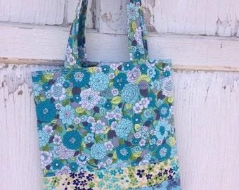 SALE- Floral Tote Bag-Library Bag