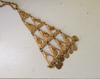 Gold Pyramid Geo Mod Necklace / Statement / Costume / Chandelier Dangle / Teardrop