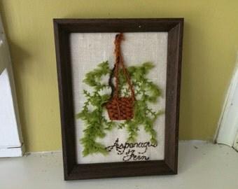 Asparagus Fern Macrame Crewel Work / Framed / Completed / Needlework / Display