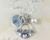 Personalized Claddagh Charm Necklace, Hand Stamped Initial Jewelry, Sterling Silver Claddagh Necklace, Claddagh Gift, Personalized Gift
