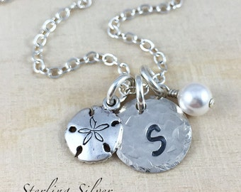 Personalized Necklace - Petite Sand Dollar Charm Necklace - Sterling Silver Jewelry With Hand Stamped Initial And Birthstone