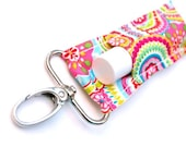 Lip Balm Holder, Chapstick Keychain, Spring Flowers and Dots
