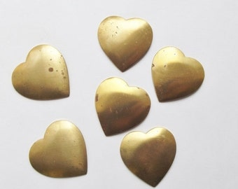 ON SALE Vintage brass heart stampings