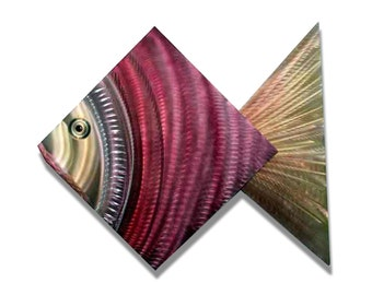 Tropical Metal Fish Wall Accent - Abstract Wall Art - Wall Sculpture - Nautical, Handmade Art Beach Decor - Coral Fish by Jon Allen