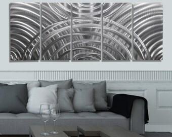 Silver Modern Metal Wall Art- Abstract Reflective Home Decor - Large Original Handmade Wall Sculpture - Eclipse by Jon Allen