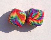 Rainbow Gold Handmade Artisan Polymer Clay Beads Pair