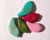 Bevy of Birds Polymer Clay Bead Set 5 Different Bird Beads