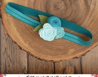 Teal/Aqua Felt Flower Headband/Clip/Barrette for Baby, Child, Teen, or Adult - Custom Elastic Color