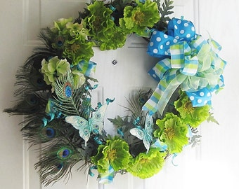 Peacock Feather Wreath, Front Door Wreath, Real Peacock Feathers, Spring Wreath, Summer Wreath,Year Round Wreath,Welcome Wreath, Wall Decor