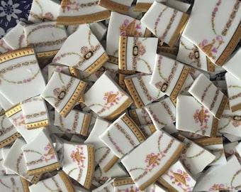 Mosaic Tiles Mix Broken Plate Art Hand Cut Pieces Supply Chintz Gold Urn Vintage 100