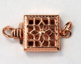 8mm Copper Square Filigree Box Clasp #CLD034