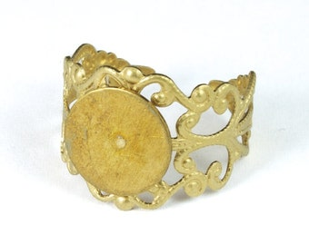 Raw Brass Filigree Ring Base with 10mm Pad #MRA019