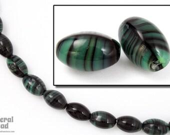 7mm x 10mm Green/Black Swirl Oval Bead (25 Pcs) #5112