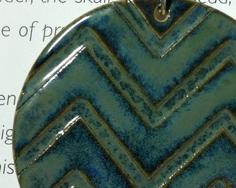 Chevron Ceramic Pendant in Blue Midnight Sea with Necklace Large