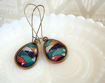 Teardrop patterned earrings in aged brass with long kidney wire- modern vintage