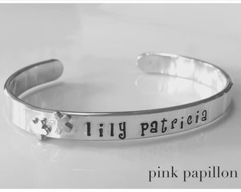 Hand Stamped Cuff Bracelet Little Girl Sterling Silver with Flower Rivets