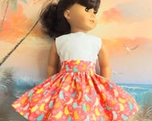 American Girl Doll Clothes Colorful Birds on a Coral Background Very Fully Gathered 50s Style Skirt with Waistband Medley NEW Style