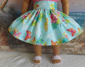 18 Inch Doll Clothes Seafoam Green with Butterflies and Flowers Very Fully Gathered 50s Style Skirt with Waistband Medley NEW Style