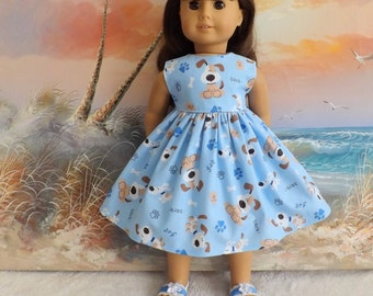 18 Inch Doll Clothes Dress Fit Like American Girl Blue Puppy Dress