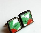ETSYVERSARY SALE Broken China Cuff Links - Red and Green Troplical Flower