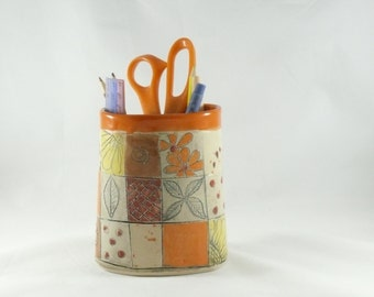 Back to School Pen Cup, Pencil Holder, Handmade vase, Liquid soap dispenser, Toothbrush holder, Desk organizer desk accessories, Brush  435