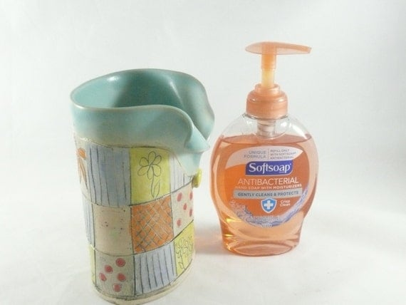 Soap Dispenser, Back to School ceramic desk accessories,  pencil holder, toothbrush holder, college dorm room decor artistic vessel vase 458