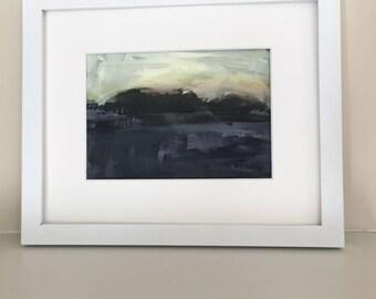 original acrylic painting landscape small landscape moody art cloud sky painting