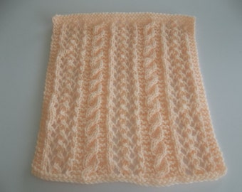 Doll Blanket, Peach Hand Knit Small Lace and Cables  Doll Blanket Blythe - Yellow Lati