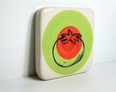 tile of a tomato on a color block of tinda and red-orange. Ready to ship.