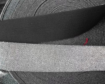 Elastic 2 inch SILVER Lurex and BLACK ELASTIC Waistband Belt Corset By The Yard